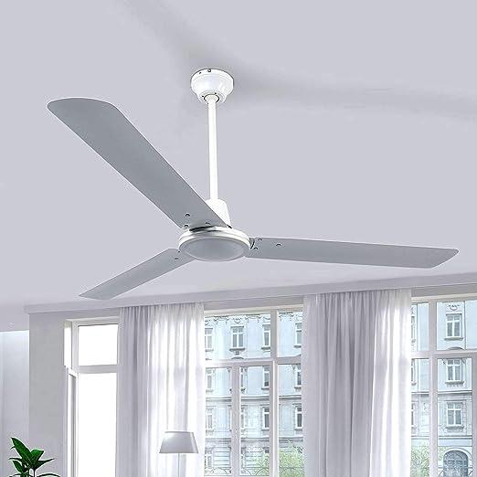 Diametro 122 cm Klarstein Spin Doctor Acciaio Laccato Ventilatore 3 Velocit/à Ventilatore da Soffitto Senza Illuminazione 55 W Colore Bianco Interruttore a Parete Rotore con 3 Pale