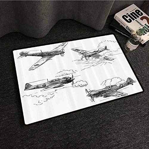 Airplane Decor Collection Outdoor Door mat World War Aircraft Army German Pilot Veteran Aggression Historic Vehicle Pict Anti-Fading W24 xL35 Black White ()