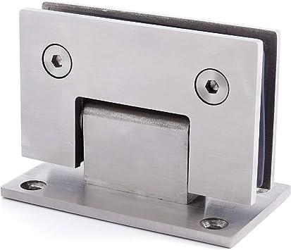 Abrazadera para puerta de ducha de acero inoxidable con bisagras de cristal, color plateado: Amazon.es: Bricolaje y herramientas
