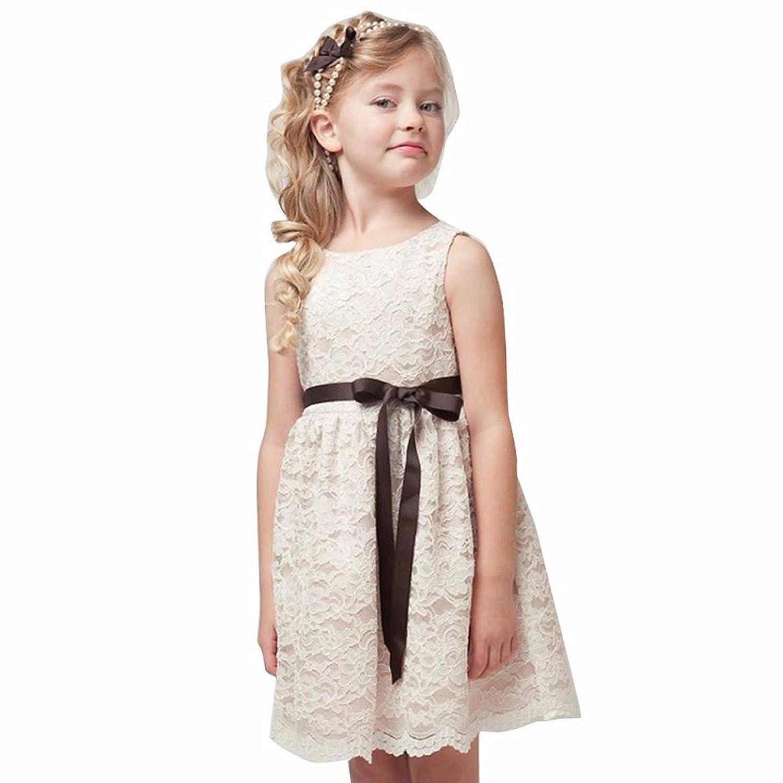 Tiaobug Tiaobug Baby Mädchen Kleid Blumenspitze Prinzessin Sommer ...