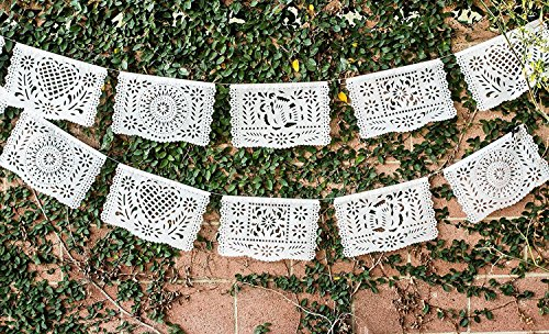 Traditional White Mexican Plastic Papel Picado Banner - Medium Size - 16 feet long - perfect for Weddings, Baptisms, and Birthday Parties by Paper Full of (Banner For Baptism Party)