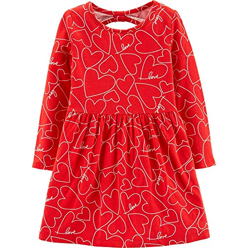 Carter's Girl's Red Valentine's Day Heart Dress for Baby Toddler Little and Big Girls (12 Months)