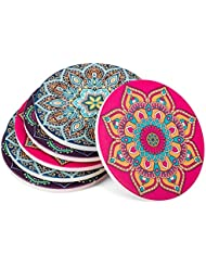 Urban Mosh Drink Coasters (6-Piece Set) Bright, Beautiful, Absorbent | 3 Mandala Designs, Ceramic Stone, Cork Backing | Boho Decor, Bohemian Decor | Protects Furniture from Scratches, Water Damage