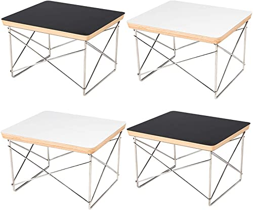 Emorden Furniture Modern Mid Century Wire Base Low Table, Laminated Plywood Smooth Top, Stainless Steel Rod Base Firm Durability,Solid Structure. 2 Black 2 White