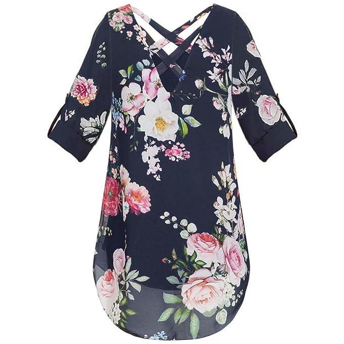 Blusa para Mujer con Cuello V Flora Print Camisetas de Gasa con Cremallera Tops Sueltos Ocasionales