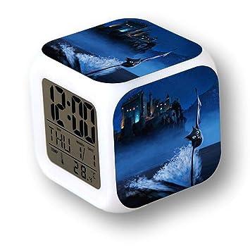 MoodiCare Reloj Digital con Alarma, Temperatura y Efectos de luz. con imágenes del Hotel Transilvania: Amazon.es: Hogar
