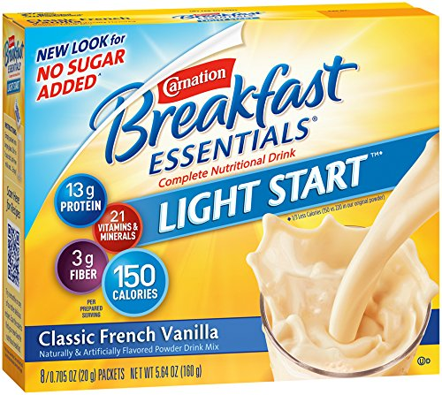- Carnation Breakfast Essentials Complete Light Start Nutritional Drink, Classic French Vanilla, 8-Count/0.705 Packets (Pack of 4)