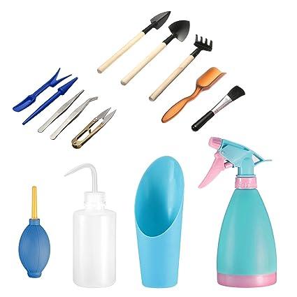 14Pcs Mini herramientas de mano de jardinería Pathonor Juegos herramientas para jardinería mini rastrillo,palas