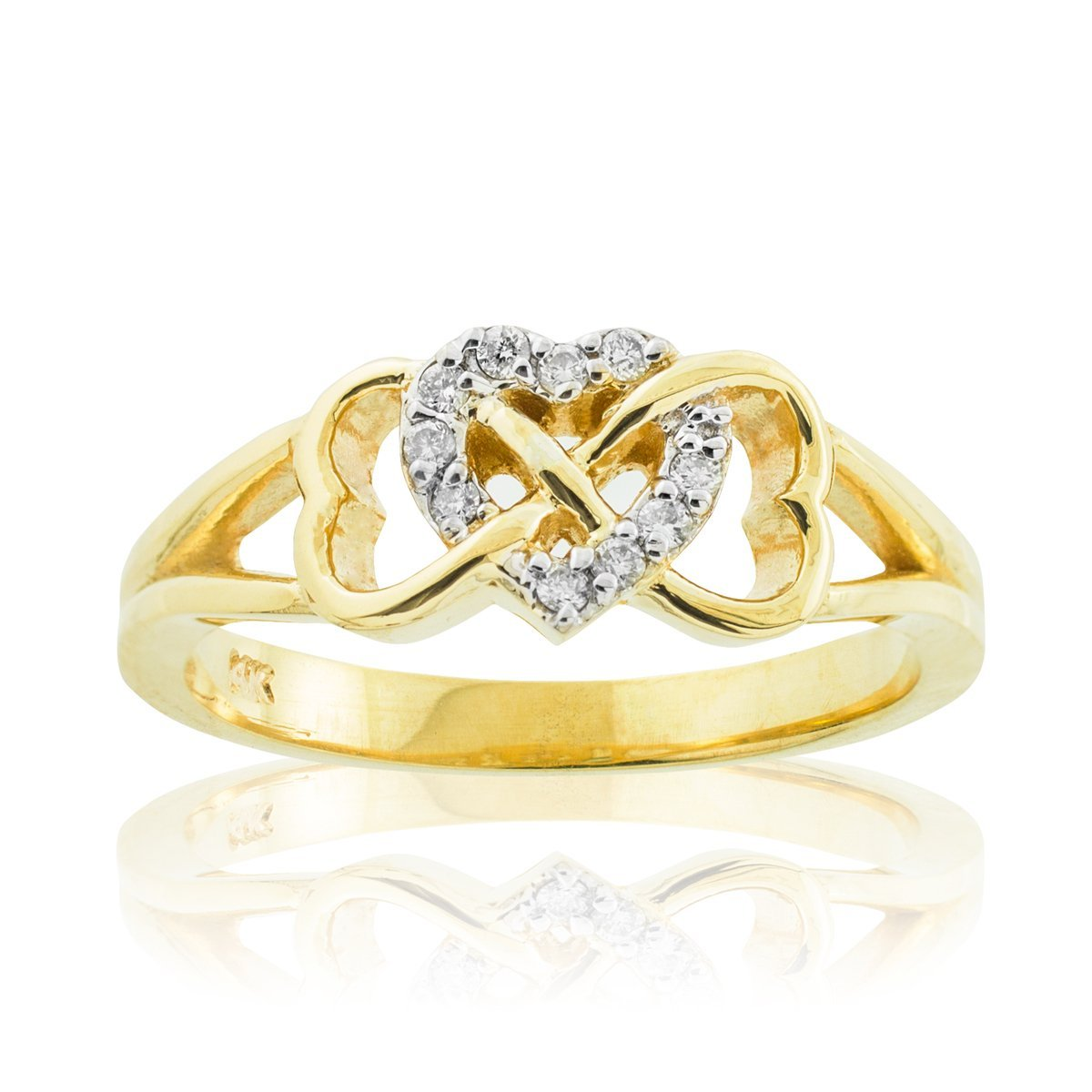 Solid 10k Yellow Gold Diamond Triple Heart Infinity Ring (Size 8.5) Claddagh Gold R923