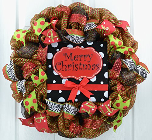 Merry Christmas Wreath | Red and Black Christmas Wreath | Mesh Front Door Outdoor Wreath