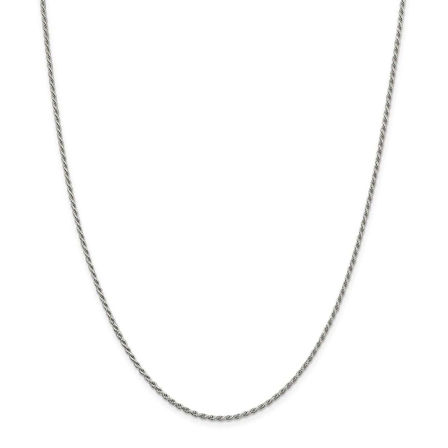 925 Sterling Silver 1.7mm Diamond-cut Rope Chain Necklace 7-24