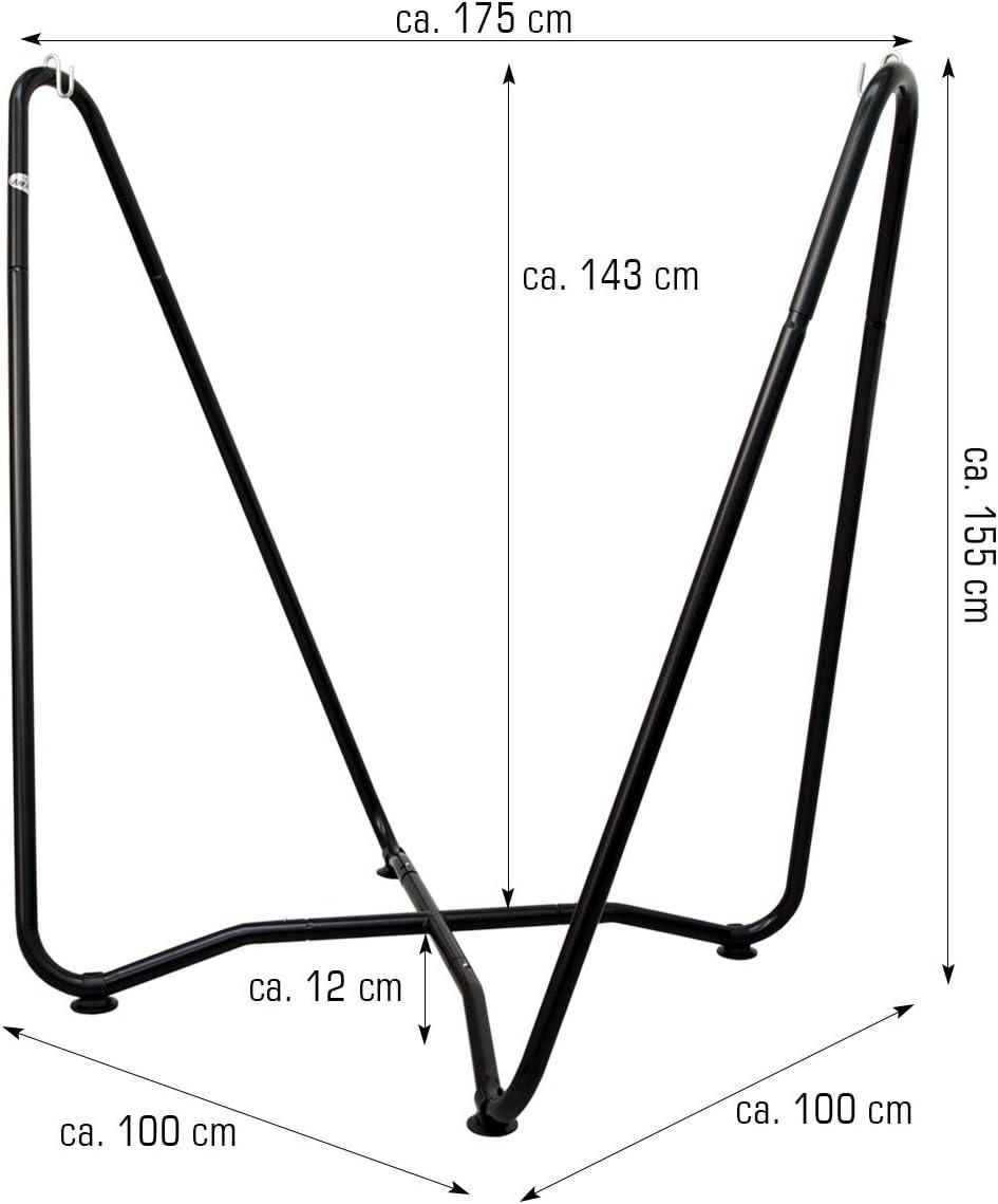 AMANKA Set Completo Soporte de Metal 175x100x155cm Incl Hamaca para Sentarse tumbarse m/áx 150kg a Rayas Azul y Verde
