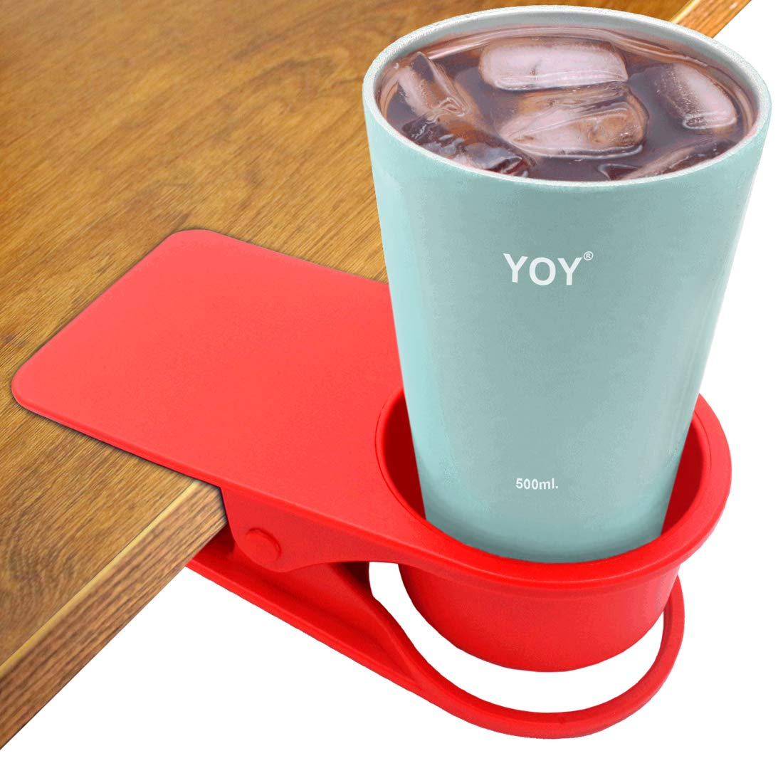HOLLIHI drink Cup Holder Clip  –   Tavolino laterale acqua vetro bottiglia di birra tumbler Beverage soda Tea Coffee mug Cup Holder piattino clip design per home office Blue
