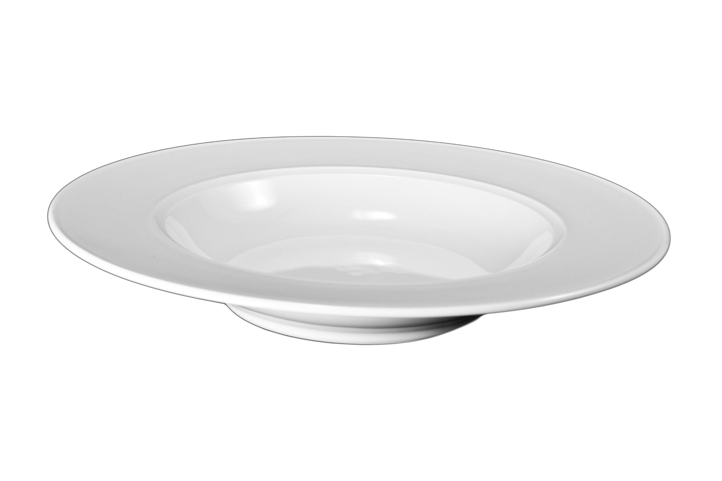 Bia Cordon Bleu White Porcelain Saturn Rim Soup Bowls, Set of 4