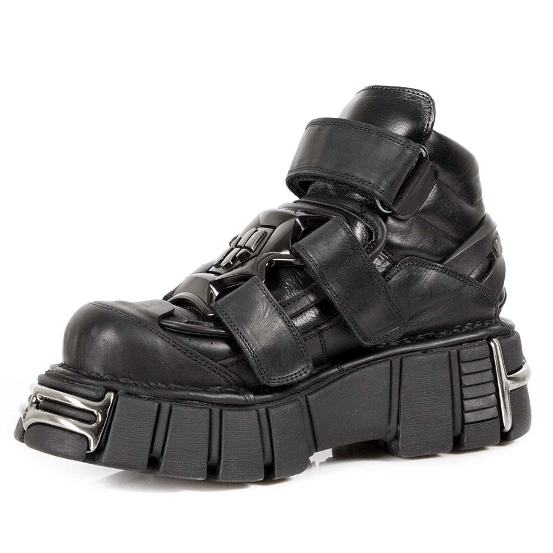 Amazon.com: New Rock Unisex Shoes Metallic Leather Biker Gothic Boots- M .285-S1: Shoes