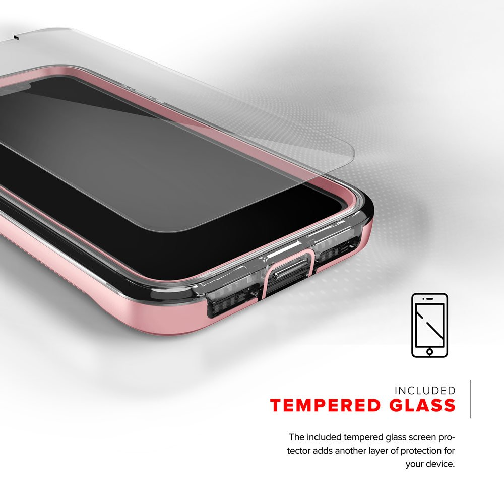 Zizo ION Series compatible with iPhone X Case Military Grade Drop Tested with Tempered Glass Screen Protector ROSE GOLD CLEAR by Zizo (Image #4)