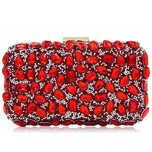 Red Clutch Rhinestone Bag Evening Party One Superw Crossbody Handbag Shoulder Dinner Women Bags for Purse Uq4w56AY