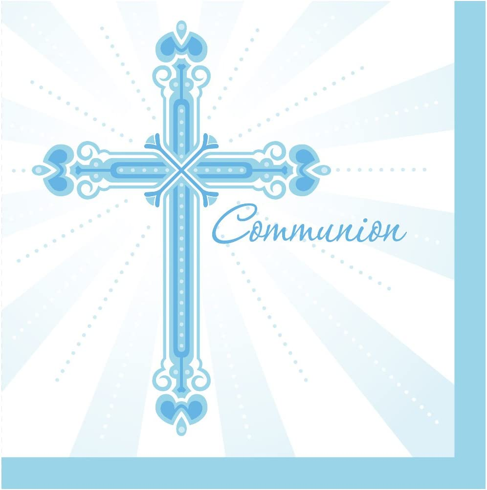 Creative Converting Party Supplies 36-Count Paper Lunch Napkins, Communion Blessings-Blue