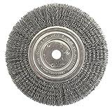 Weiler 2335 Vortec Pro Medium Face Bench Grinder Wheel, 7'', 0.14'' Crimped Steel Wire Fill, 5/8'' Arbor Hole