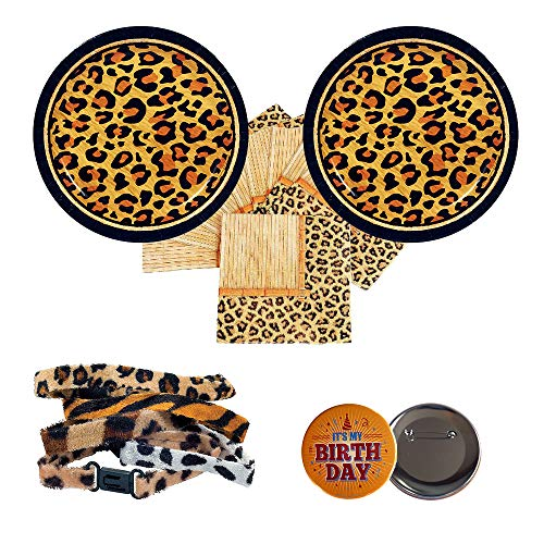 - Razzle Dazzle Celebrations 03 Cheetah Leopard Party Supplies for 16 Guests - Small Plates, Napkins, Bracelets + Birthday Button