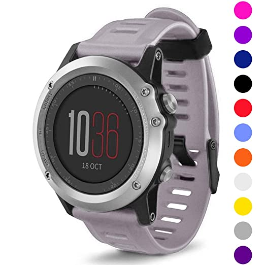 StrapsCo suave silicona reloj banda correa para Garmin Fenix 3/HR, color violeta: Amazon.es: Relojes