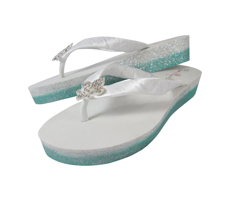 c42de28ea0fff Amazon.com: Ombre Glitter Wedge Flip Flops, White Low Heel Wedding ...