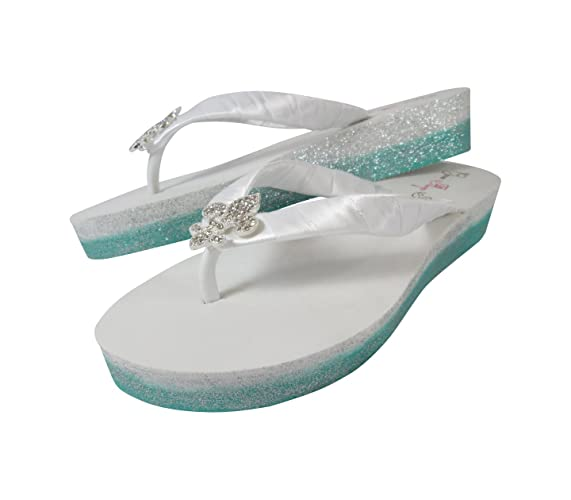 5b876284321f4 Amazon.com: Ombre Glitter Wedge Flip Flops, White Low Heel Wedding ...