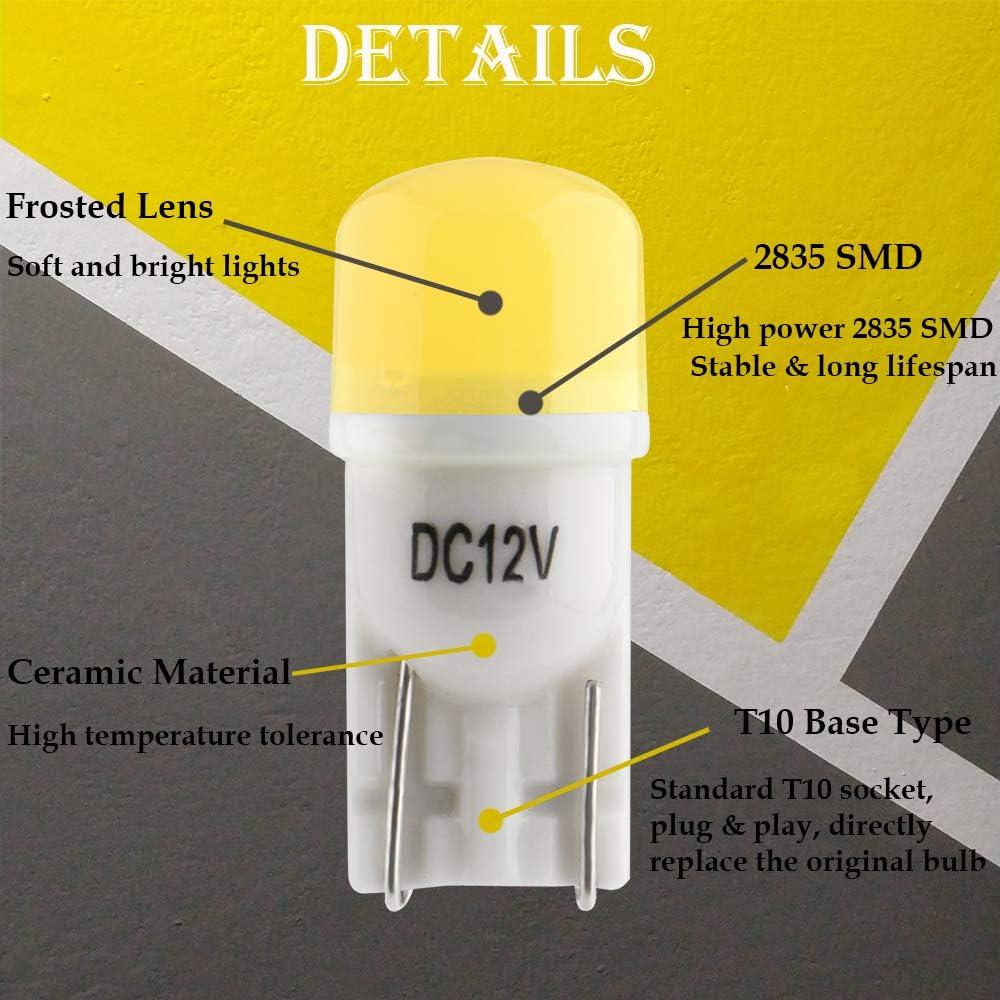 Grandview T10 501 LED Bombillas de Cer/ámica Rosado 196 168 W5W Bombillas con 3-2835-SMD Para el Interior del Autom/óvil Matr/ícula del Cami/ón Matr/ícula Luces de Cortes/ía Garant/ía de 2 a/ños