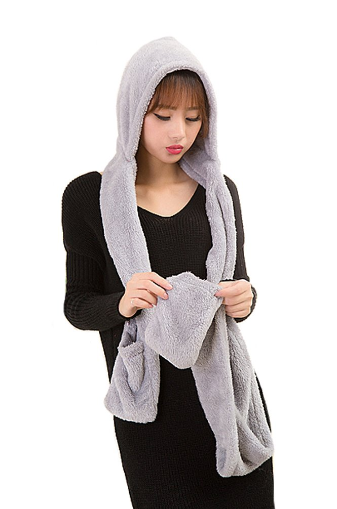 Tonwhar Womens Cute Winter Thick Warm Long Hooded Scarf with Mittens (White) weijin001