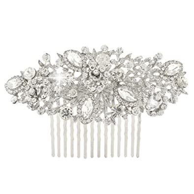 TENYE Austrian Crystal Cream Simulated Pearl Bridal Lots Flower Leaves Hair Comb Clear Silver-Tone