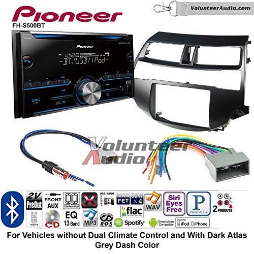 Volunteer Audio Pioneer FH-S500BT Double Din Radio Install Kit with CD Player Bluetooth Fits 2008-2012 Honda Accord (Dark Atlas Grey) (Dual Player 2 Mix Cd)