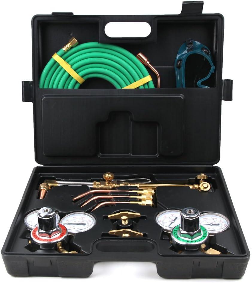 Black Portable Oxy Acetylene Oxygen Brazing Professional Tool Set,Black Professional Welding /& Cutting Kit,Gas Welding Cutting Torch Kit