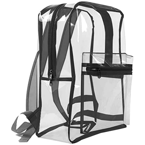 ba0649f3abad Image Unavailable. Image not available for. Color  Clear Backpack  Drawstring Heavy Duty for School ...