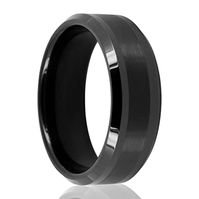 Freundschaftsringe schwarz  Wolfram Tungsten Ringe schwarz mit Zierstreifen 8 mm breit aus ...