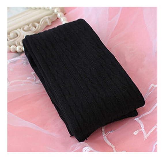 ccad80e94bc Woman Lady S Wool Braid Over Knee Socks Thigh Highs Hose Stockings Twist  Warm Winter Black