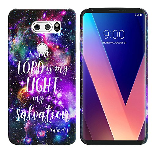 LG V30 V30+ Plus H930 VS996 H931 H932 US998 6 inch Case, FINCIBO Back Cover Hard Plastic Protector Case Stylish Design Psalm 27:1 Marvel Nebula Galaxy