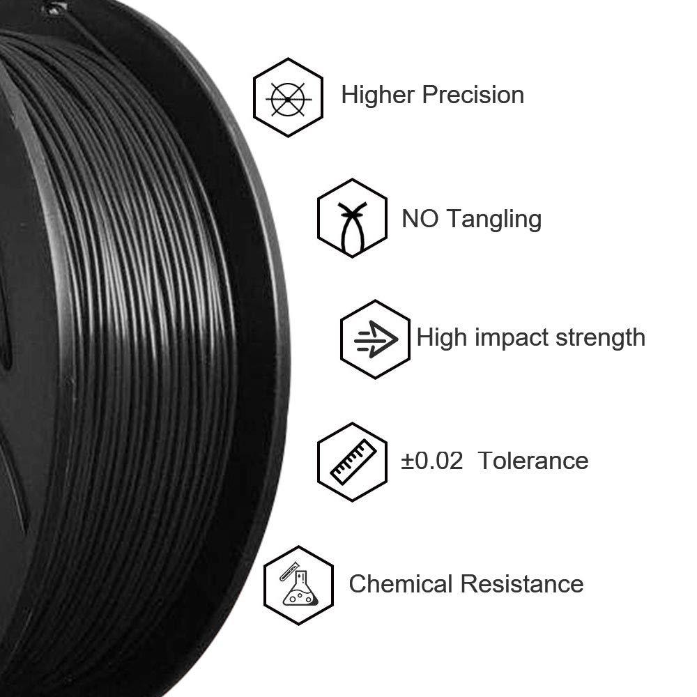 1.75 mm Black Dimensional Accuracy +//- 0.03 mm ABS 3D Printer Filament 1 kg Spool