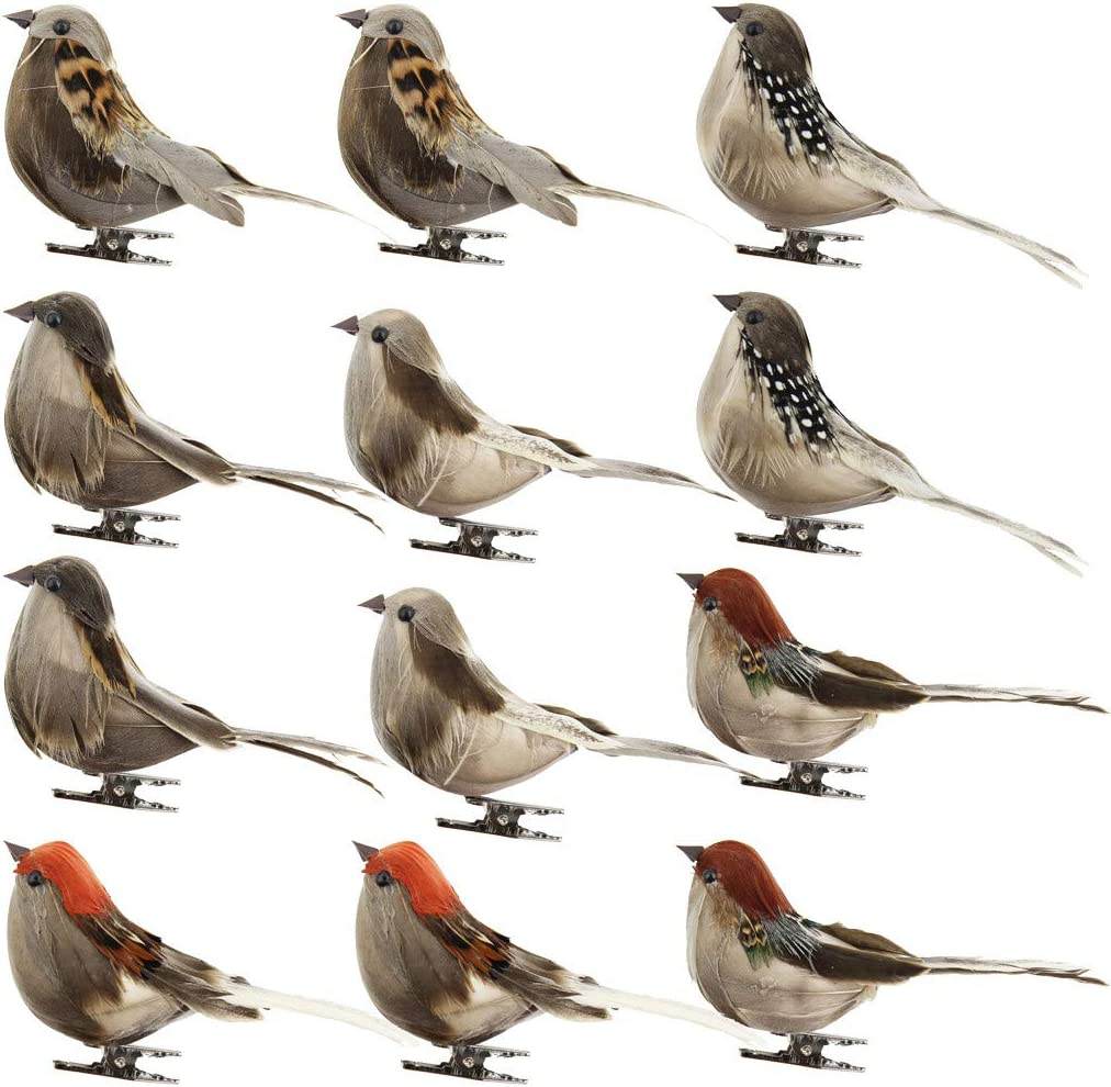 12PCS Fake Colorful Bird Artificial Foam Simulation Birds With Feather DIY Dyu