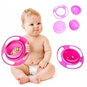 Janestore Children Food Dish Feeding Bowl Newborns Tableware 360 Rotate Spill-Proof Bowl UFO Universal Rotate Bowl-Red