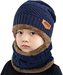 Yuson Girl 2 Pcs Baby Kid Warm Cotton Double Layered Stretchy Beanie Hat Cap Light Weight Snood Scarf Set for Newborn Bbay Boys Girls Toddler Infant Winter Autumn Spring