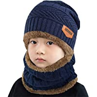 Yuson Girl Conjunto de Bufanda y Gorro de Punto para niños Forro Polar de Lana Beanie Hat Sombrero Cuello Caliente