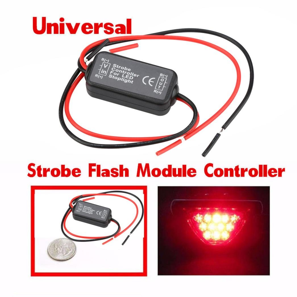 Quaanti New 12v Gs 100a Led Brake Stop Light Strobe Flasher Headlight Flashing Circuit Motorcycle Car Tail Flash Module Controller Box For Black Arts Crafts Sewing