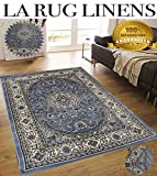 Light Blue Persian Floral Oriental Formal Traditional Area Rug 5×7 Easy to Clean Stain Fade Resistant Shed-Free Living Dining Room Rug (Tabriz 417 Light Blue Design)