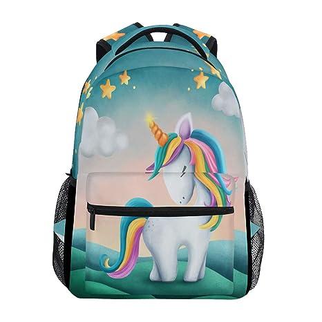 Mochila para ordenador portátil con diseño de estrella arcoíris de unicornio digital, resistente al agua