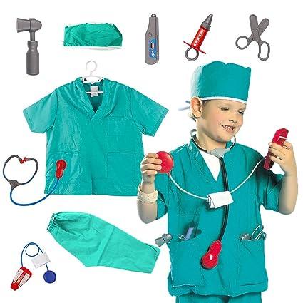infantil juego de Rol Disfraz Set inclinada Fingir Disfraz Halloween y Assessories, 3-7 AÑOS - Doctor, One Size