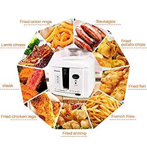 Homdox Electric Deep Fryer With Cool-touch 8 cup Oil Capacity 1500W for French Fries Chicken Wings Steak Stainless Steel White
