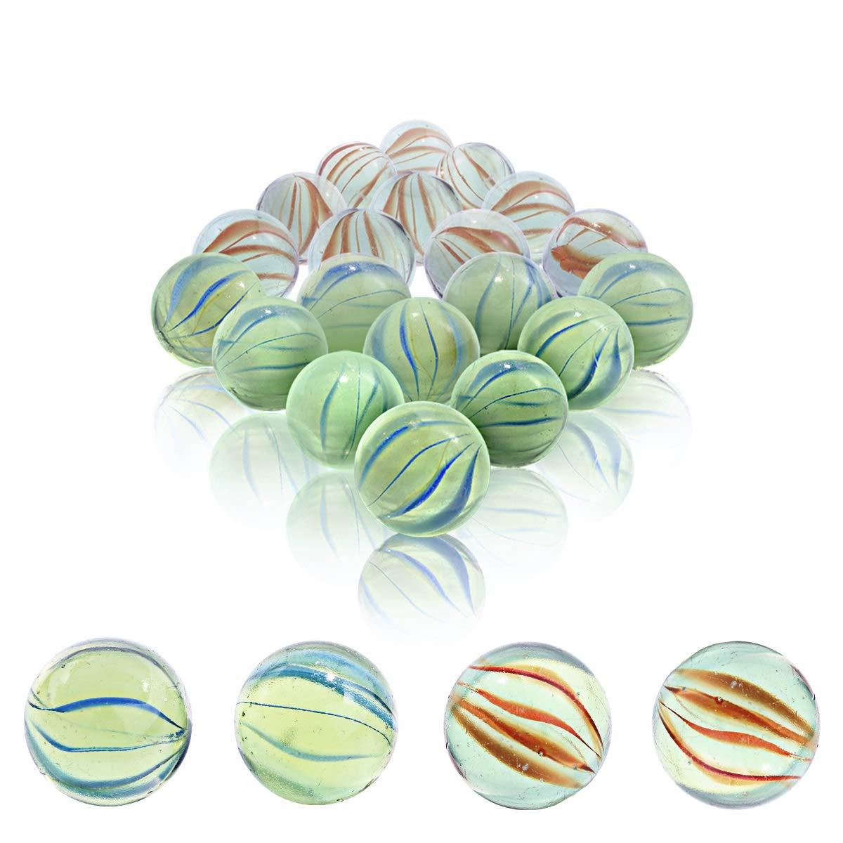 IFfree 1 Mega Marbles in bulk Glass Marbles for Children SET OF 24 ASSORTED BULK