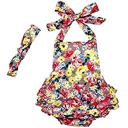 DQdq Baby Girls\' Floral Print Ruffles Romper Summer Dress Grey Sakura 24 Month