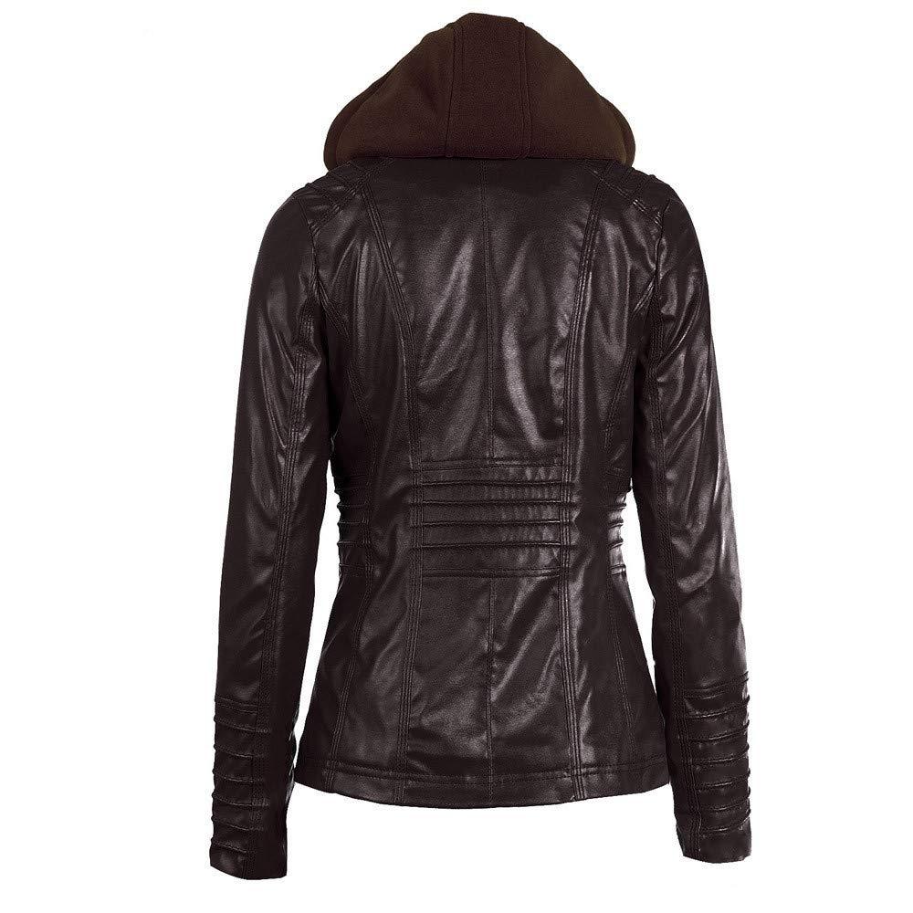 Manteau /à Capuche Gilet Slim Fit Outwear Fermeture /Éclair Cardigan Veste /à Moto Doudoune Coupe-Vent Casual Parka en Cuir Bol/éro Sweat-Shirts dhiver pour Dame ZEZKT Blouson Femme