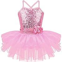 TiaoBug Kids Girls Spaghetti Sequined Ballet Dance Tutu Dress Gymnastic Leotard Skirt